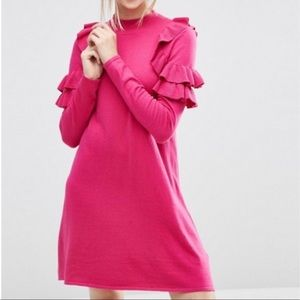 ASOS bright pink ruffle sweater dress medium